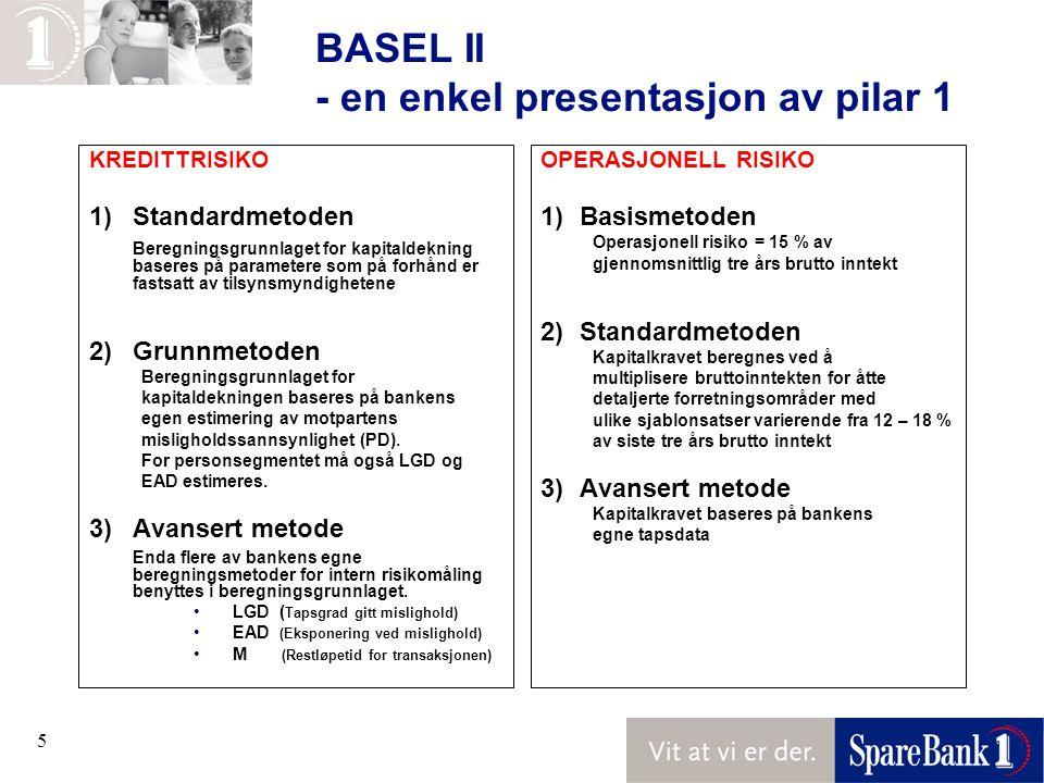5 BASEL II - en enkel presentasjon av pilar 1 KREDITTRISIKO 1)Standardmetoden Beregningsgrunnlaget for kapitaldekning baseres på parametere som på forhånd er fastsatt av tilsynsmyndighetene 2)Grunnmetoden Beregningsgrunnlaget for kapitaldekningen baseres på bankens egen estimering av motpartens misligholdssannsynlighet (PD).