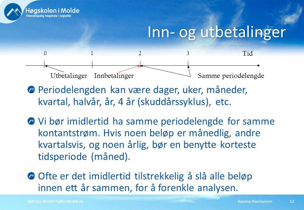Rasmus RasmussenBØK311 BEDRIFTSØKONOMI 2b12 Periodelengden kan være dager, uker, måneder, kvartal, halvår, år, 4 år (skuddårssyklus), etc. Vi bør imid