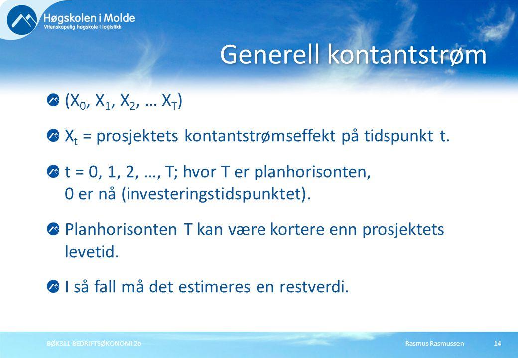 Rasmus RasmussenBØK311 BEDRIFTSØKONOMI 2b14 (X 0, X 1, X 2, … X T ) X t = prosjektets kontantstrømseffekt på tidspunkt t. t = 0, 1, 2, …, T; hvor T er