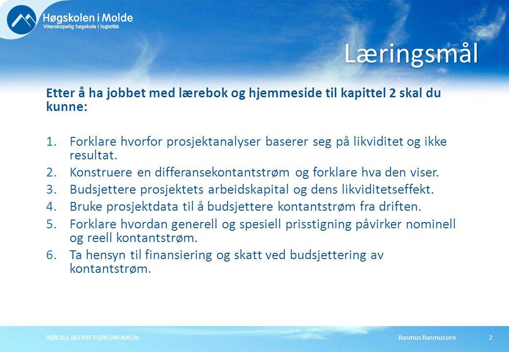 Rasmus RasmussenBØK311 BEDRIFTSØKONOMI 2b2 Etter å ha jobbet med lærebok og hjemmeside til kapittel 2 skal du kunne: 1.Forklare hvorfor prosjektanalys