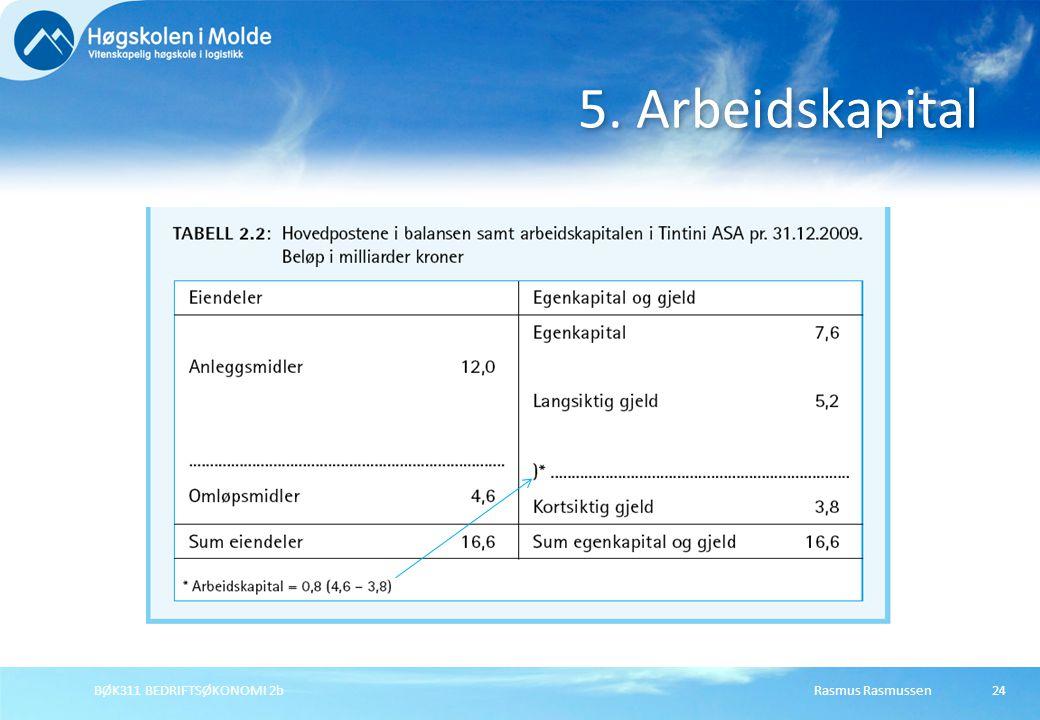 5. Arbeidskapital Rasmus RasmussenBØK311 BEDRIFTSØKONOMI 2b24
