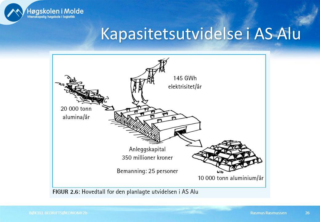 Rasmus RasmussenBØK311 BEDRIFTSØKONOMI 2b26 Kapasitetsutvidelse i AS Alu