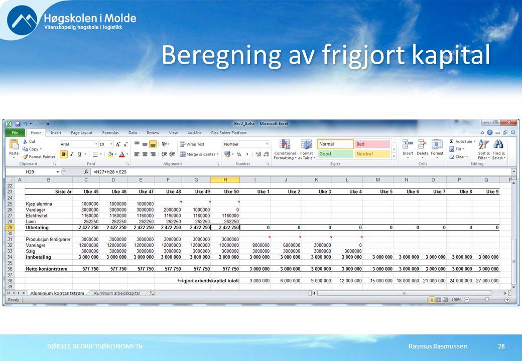 Rasmus RasmussenBØK311 BEDRIFTSØKONOMI 2b28 Beregning av frigjort kapital