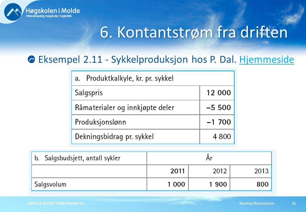 Rasmus RasmussenBØK311 BEDRIFTSØKONOMI 2b31 Eksempel 2.11 - Sykkelproduksjon hos P. Dal. HjemmesideHjemmeside 6. Kontantstrøm fra driften