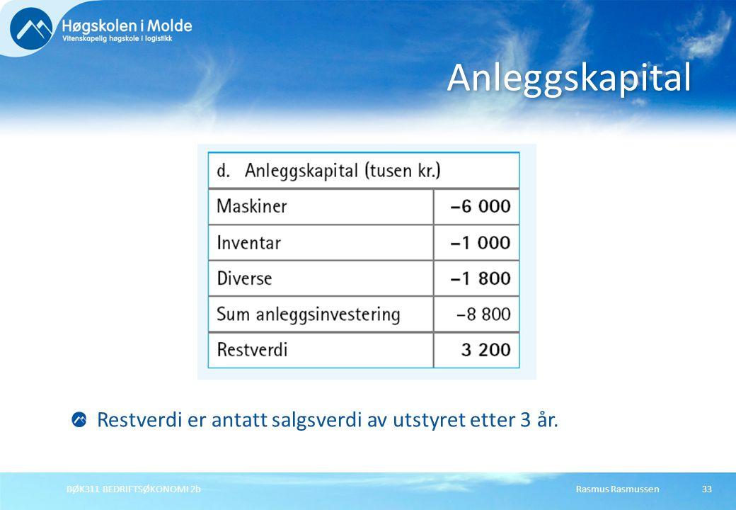Rasmus RasmussenBØK311 BEDRIFTSØKONOMI 2b33 Anleggskapital Restverdi er antatt salgsverdi av utstyret etter 3 år.
