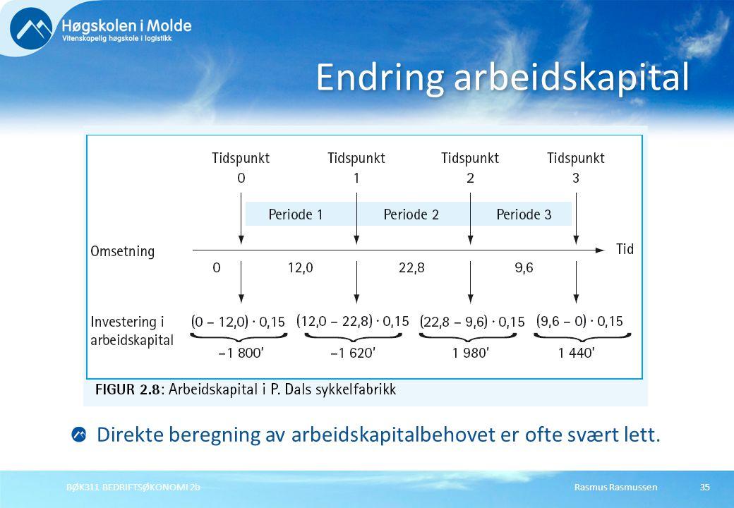 Rasmus RasmussenBØK311 BEDRIFTSØKONOMI 2b35 Endring arbeidskapital Direkte beregning av arbeidskapitalbehovet er ofte svært lett.