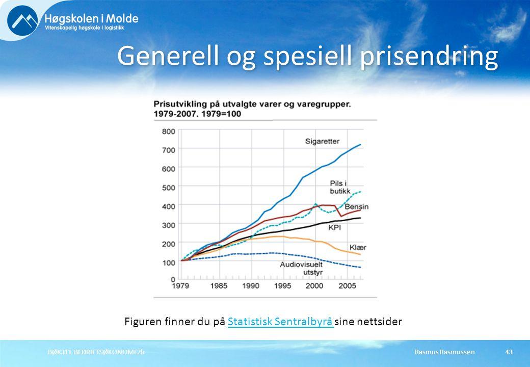 Generell og spesiell prisendring Figuren finner du på Statistisk Sentralbyrå sine nettsiderStatistisk Sentralbyrå Rasmus RasmussenBØK311 BEDRIFTSØKONO