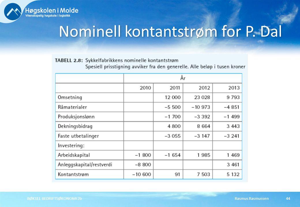 Nominell kontantstrøm for P. Dal Rasmus RasmussenBØK311 BEDRIFTSØKONOMI 2b44