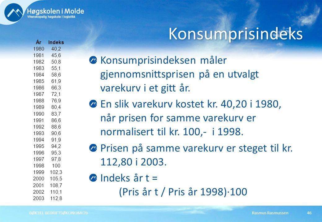 Rasmus RasmussenBØK311 BEDRIFTSØKONOMI 2b46 ÅrIndeks 198040,2 198145,6 198250,8 198355,1 198458,6 198561,9 198666,3 198772,1 198876,9 198980,4 199083,