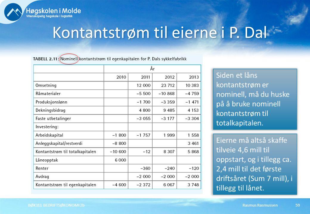 Kontantstrøm til eierne i P. Dal Rasmus RasmussenBØK311 BEDRIFTSØKONOMI 2b59