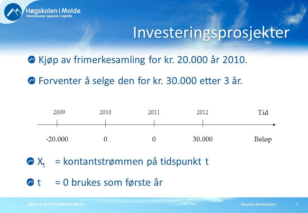 Rasmus RasmussenBØK311 BEDRIFTSØKONOMI 2b7 Kjøp av frimerkesamling for kr. 20.000 år 2010. Forventer å selge den for kr. 30.000 etter 3 år. Investerin