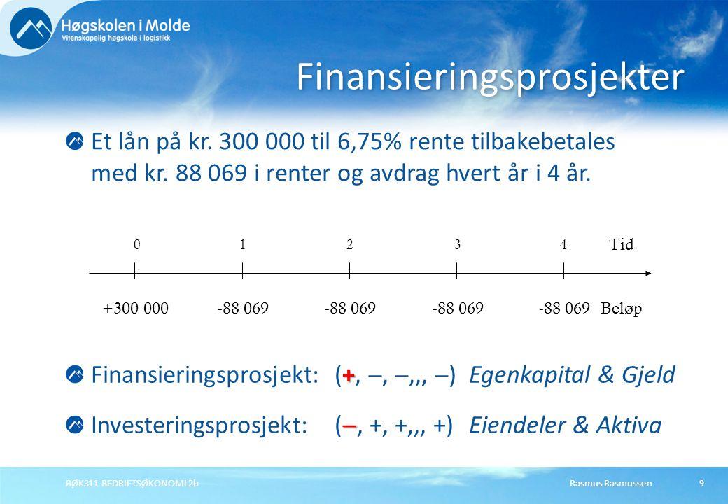 Rasmus RasmussenBØK311 BEDRIFTSØKONOMI 2b9 Et lån på kr. 300 000 til 6,75% rente tilbakebetales med kr. 88 069 i renter og avdrag hvert år i 4 år. Fin