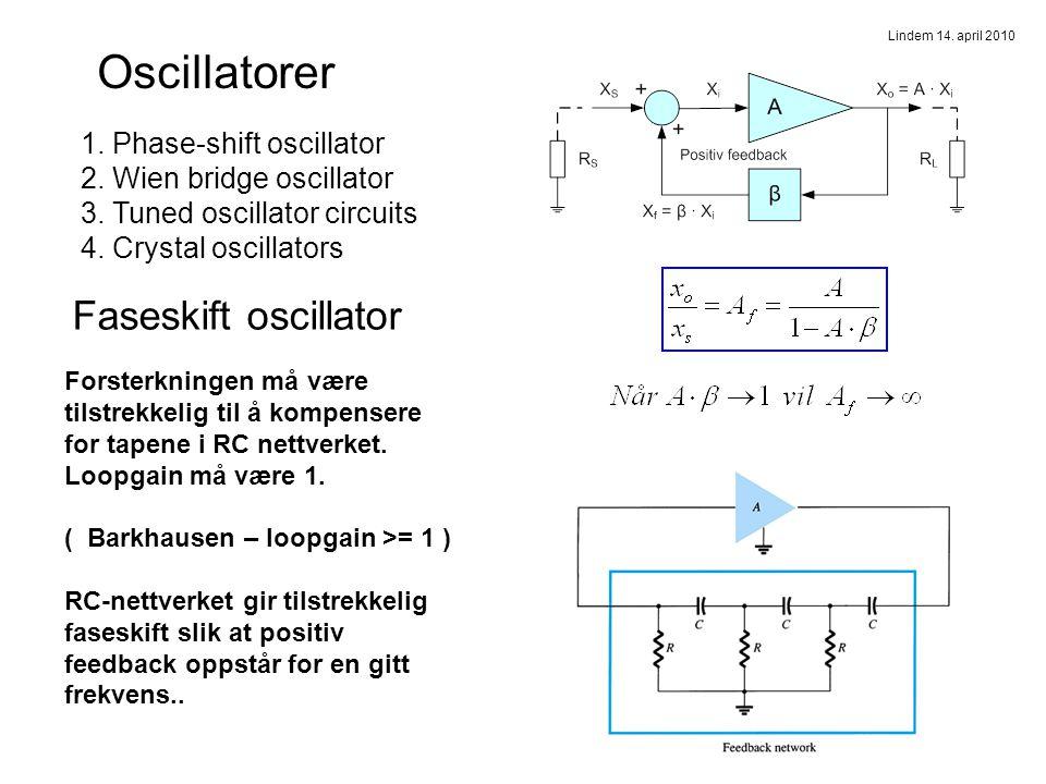 Faseskiftoscillator Praktisk kopling vha. operasjonsforsterker Oscillatorer
