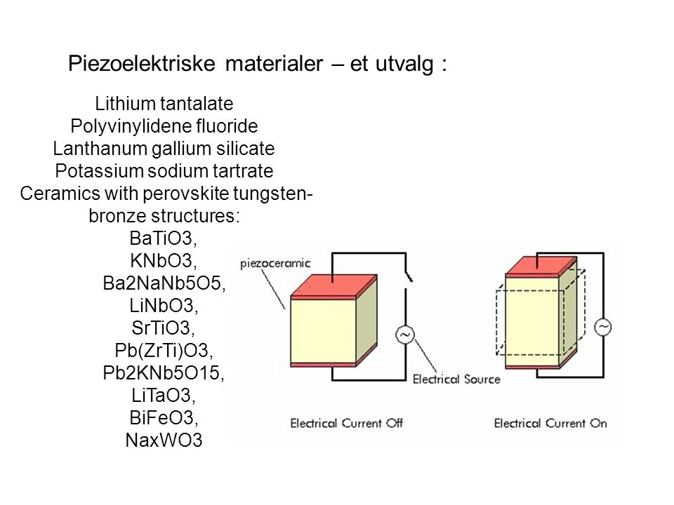 Lithium tantalate Polyvinylidene fluoride Lanthanum gallium silicate Potassium sodium tartrate Ceramics with perovskite tungsten- bronze structures: BaTiO3, KNbO3, Ba2NaNb5O5, LiNbO3, SrTiO3, Pb(ZrTi)O3, Pb2KNb5O15, LiTaO3, BiFeO3, NaxWO3 Piezoelektriske materialer – et utvalg :