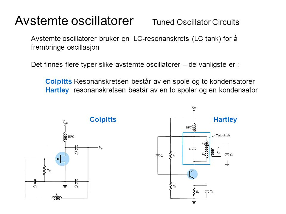 Avstemte oscillatorer Tuned Oscillator Circuits Avstemte oscillatorer bruker en LC-resonanskrets (LC tank) for å frembringe oscillasjon Det finnes fle
