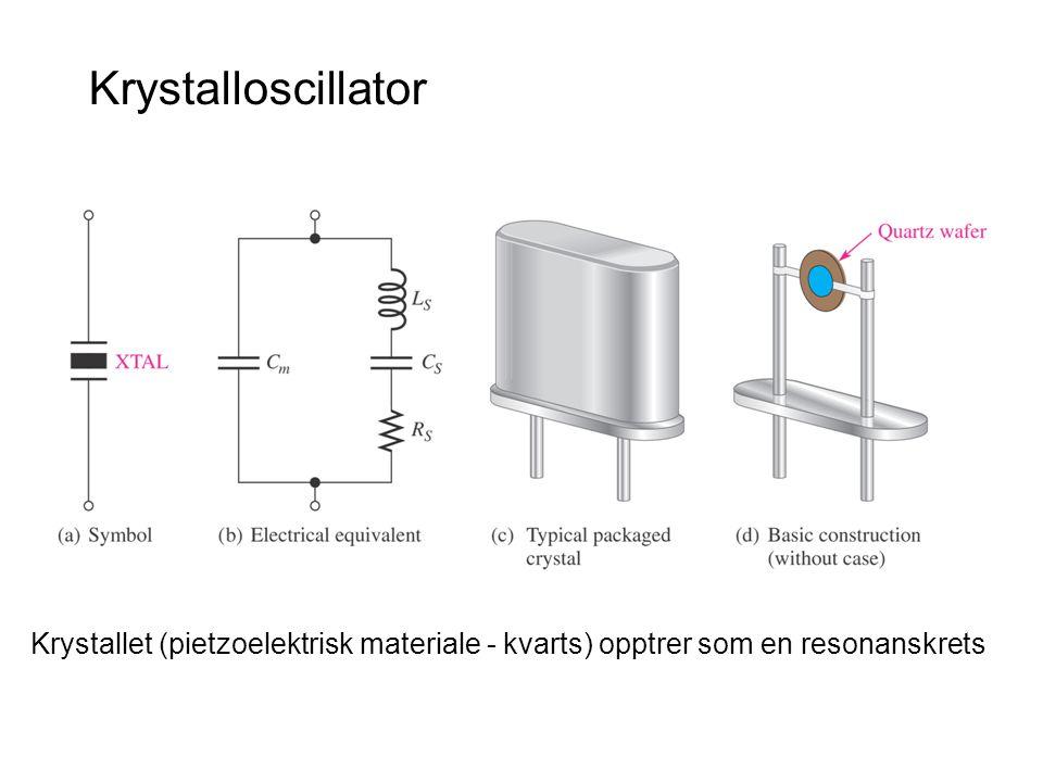 Krystalloscillator Krystallet (pietzoelektrisk materiale - kvarts) opptrer som en resonanskrets