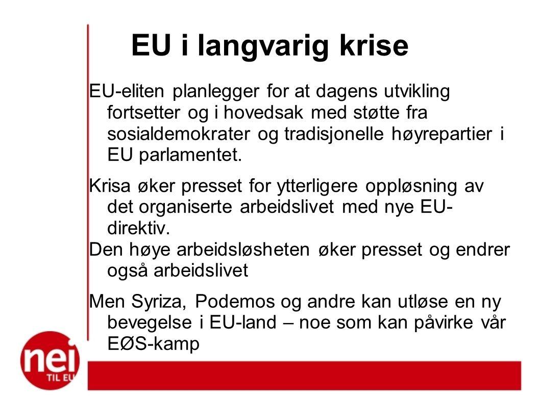 EU i langvarig krise EU-eliten planlegger for at dagens utvikling fortsetter og i hovedsak med støtte fra sosialdemokrater og tradisjonelle høyrepartier i EU parlamentet.