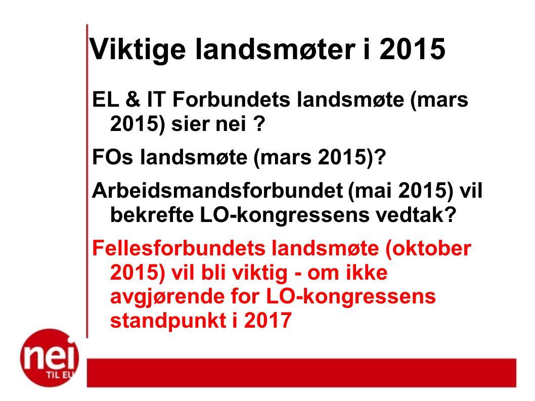 Viktige landsmøter i 2015 EL & IT Forbundets landsmøte (mars 2015) sier nei .