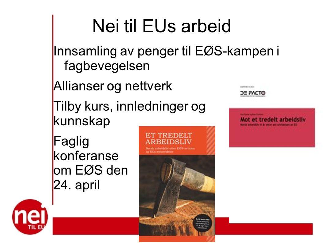 Nei til EUs arbeid Innsamling av penger til EØS-kampen i fagbevegelsen Allianser og nettverk Tilby kurs, innledninger og kunnskap Faglig konferanse om EØS den 24.
