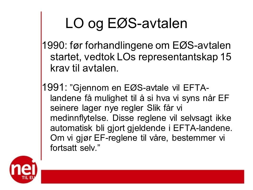 I 1990, før forhandlingene om EØS-avtalen startet, vedtok LO representantskap 15 krav til avtalen.