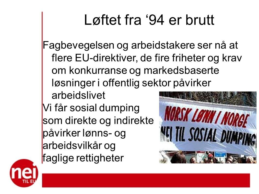 Løftet fra '94 er brutt Fagbevegelsen og arbeidstakere ser nå at flere EU-direktiver, de fire friheter og krav om konkurranse og markedsbaserte løsninger i offentlig sektor påvirker arbeidslivet Vi får sosial dumping som direkte og indirekte påvirker lønns- og arbeidsvilkår og faglige rettigheter