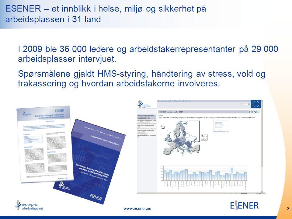 2 www.esener.eu I 2009 ble 36 000 ledere og arbeidstakerrepresentanter på 29 000 arbeidsplasser intervjuet.