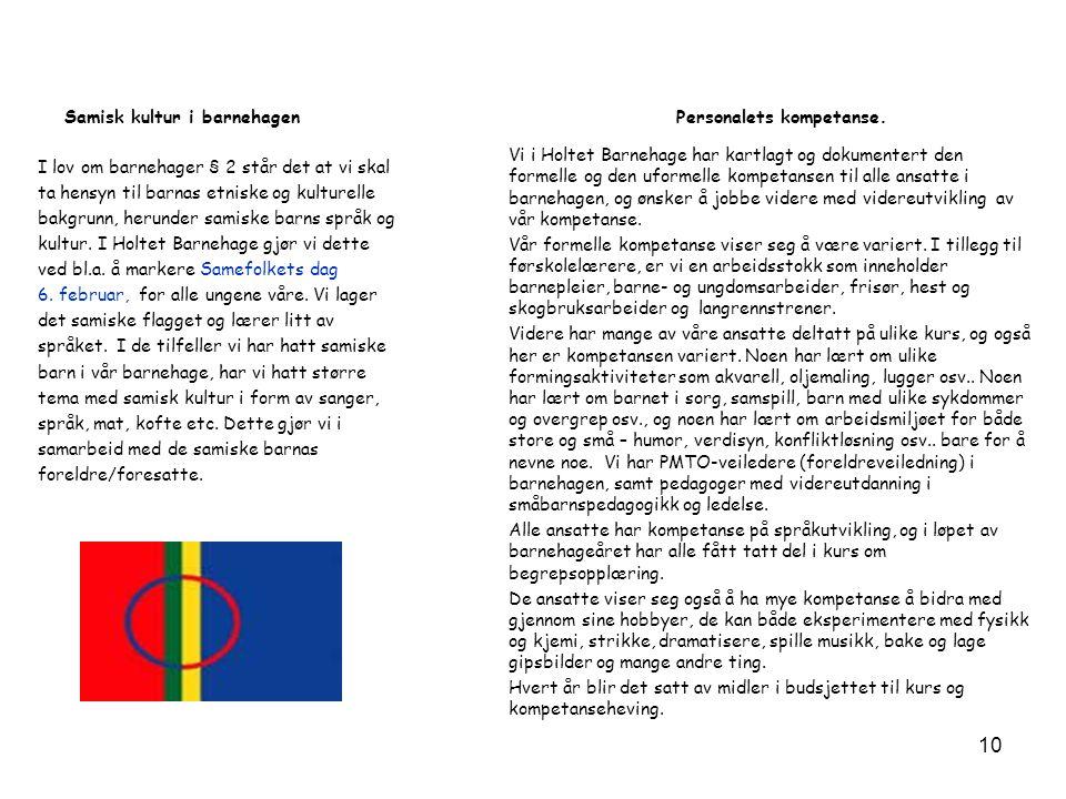 Samisk kultur i barnehagen I lov om barnehager § 2 står det at vi skal ta hensyn til barnas etniske og kulturelle bakgrunn, herunder samiske barns spr