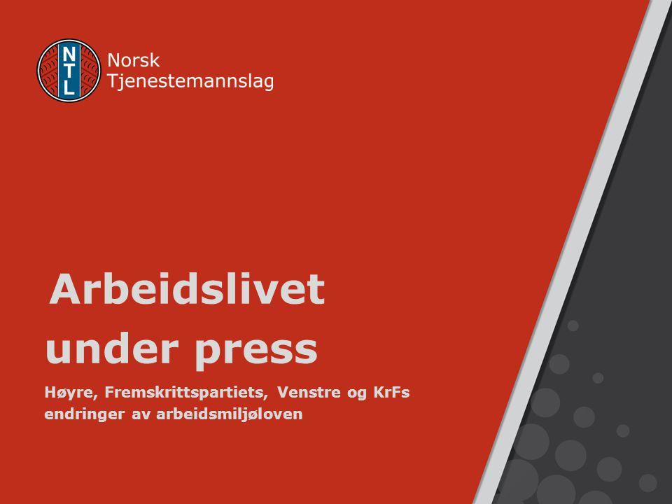 Arbeidslivet under press Høyre, Fremskrittspartiets, Venstre og KrFs endringer av arbeidsmiljøloven