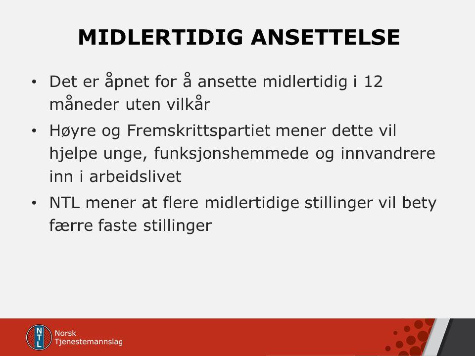 MIDLERTIDIG ANSETTELSE Det er åpnet for å ansette midlertidig i 12 måneder uten vilkår Høyre og Fremskrittspartiet mener dette vil hjelpe unge, funksj
