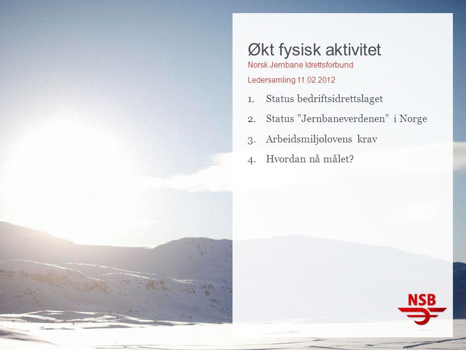 """Økt fysisk aktivitet Norsk Jernbane Idrettsforbund Ledersamling 11.02.2012 1.Status bedriftsidrettslaget 2.Status """"Jernbaneverdenen"""" i Norge 3.Arbeids"""