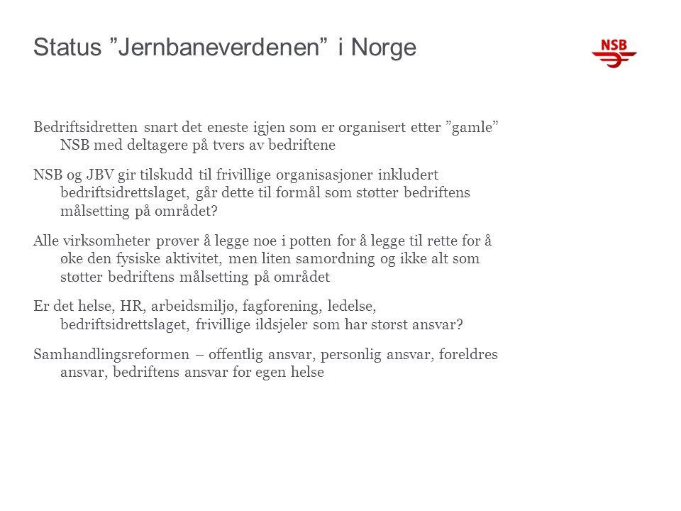Status Jernbaneverdenen i Norge Bedriftsidretten snart det eneste igjen som er organisert etter gamle NSB med deltagere på tvers av bedriftene NSB og JBV gir tilskudd til frivillige organisasjoner inkludert bedriftsidrettslaget, går dette til formål som støtter bedriftens målsetting på området.