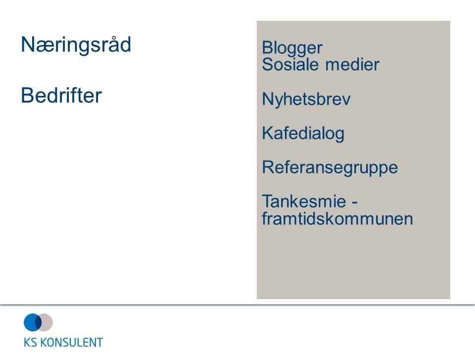 Næringsråd Bedrifter Blogger Sosiale medier Nyhetsbrev Kafedialog Referansegruppe Tankesmie - framtidskommunen