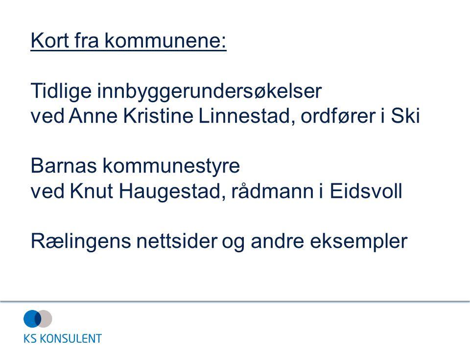 Kort fra kommunene: Tidlige innbyggerundersøkelser ved Anne Kristine Linnestad, ordfører i Ski Barnas kommunestyre ved Knut Haugestad, rådmann i Eidsv