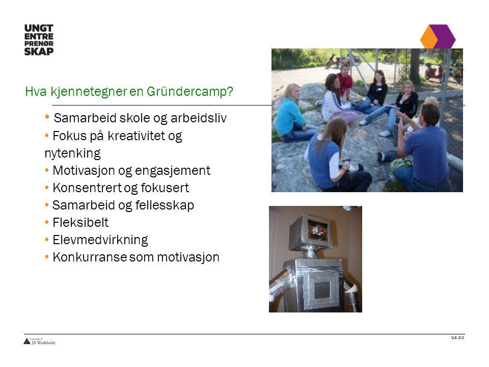 ue.no Hva kjennetegner en Gründercamp? Samarbeid skole og arbeidsliv Fokus på kreativitet og nytenking Motivasjon og engasjement Konsentrert og fokuse