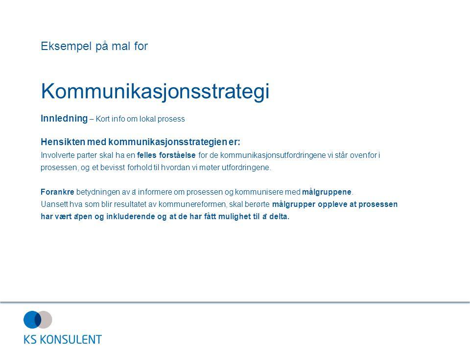 Eksempel på mal for Kommunikasjonsstrategi Innledning – Kort info om lokal prosess Hensikten med kommunikasjonsstrategien er: Involverte parter skal h