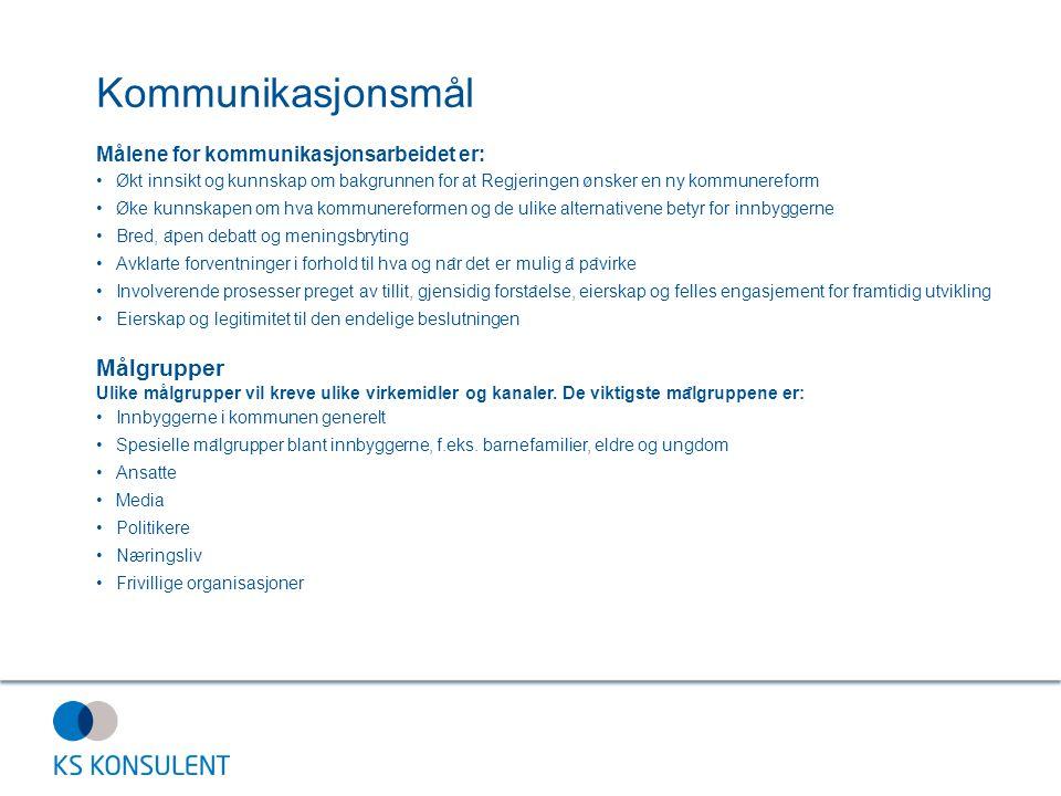 Kommunikasjonsmål Målene for kommunikasjonsarbeidet er: Økt innsikt og kunnskap om bakgrunnen for at Regjeringen ønsker en ny kommunereform Øke kunnsk
