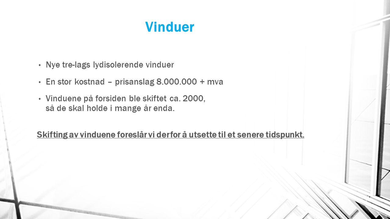 Vinduer Nye tre-lags lydisolerende vinduer En stor kostnad – prisanslag 8.000.000 + mva Vinduene på forsiden ble skiftet ca. 2000, så de skal holde i