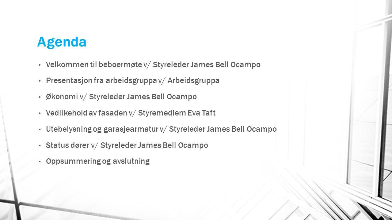 Agenda Velkommen til beboermøte v/ Styreleder James Bell Ocampo Presentasjon fra arbeidsgruppa v/ Arbeidsgruppa Økonomi v/ Styreleder James Bell Ocamp