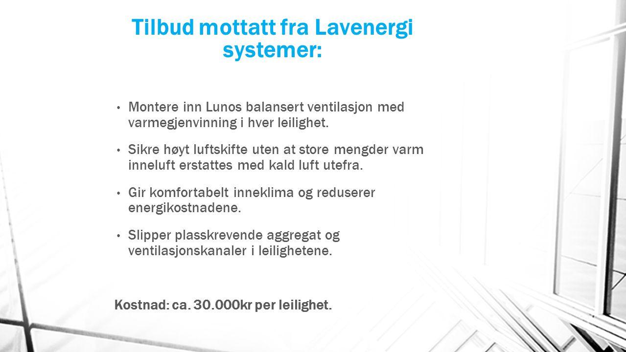 Tilbud mottatt fra Lavenergi systemer: Montere inn Lunos balansert ventilasjon med varmegjenvinning i hver leilighet. Sikre høyt luftskifte uten at st