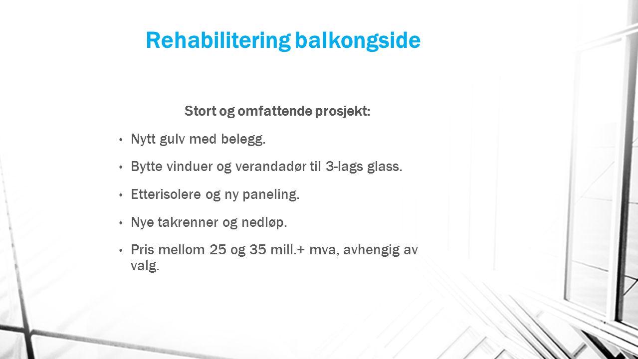 Rehabilitering balkongside Stort og omfattende prosjekt: Nytt gulv med belegg. Bytte vinduer og verandadør til 3-lags glass. Etterisolere og ny paneli