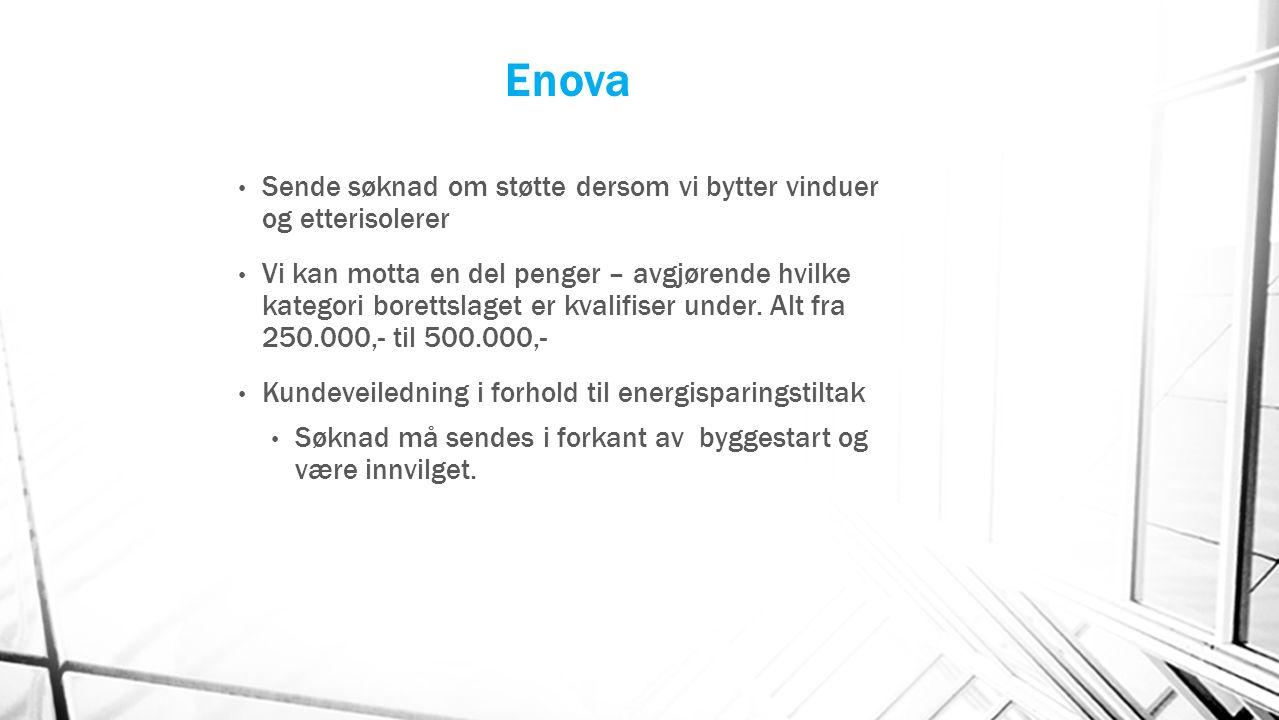 Enova Sende søknad om støtte dersom vi bytter vinduer og etterisolerer Vi kan motta en del penger – avgjørende hvilke kategori borettslaget er kvalifi