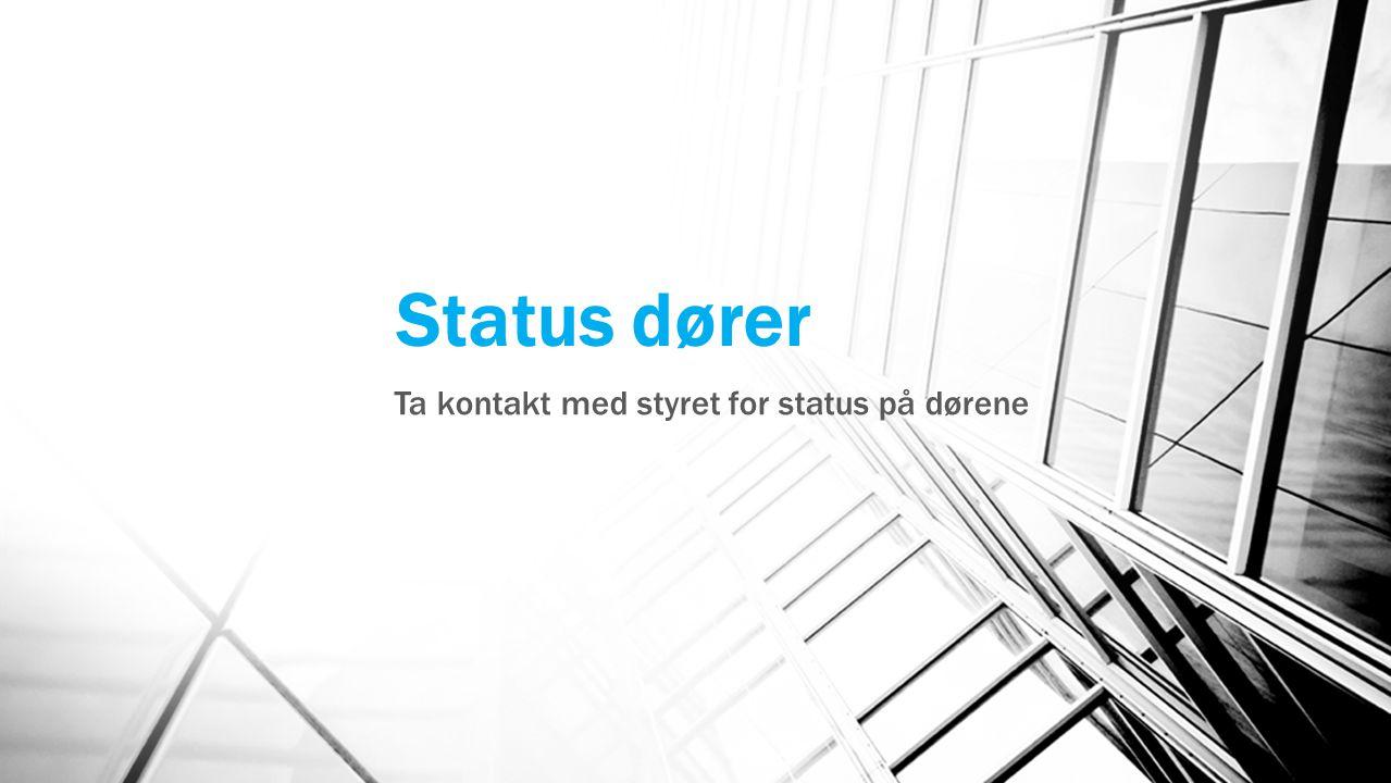 Status dører Ta kontakt med styret for status på dørene