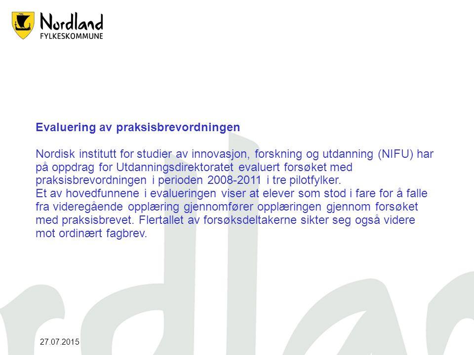 Evaluering av praksisbrevordningen Nordisk institutt for studier av innovasjon, forskning og utdanning (NIFU) har på oppdrag for Utdanningsdirektoratet evaluert forsøket med praksisbrevordningen i perioden 2008-2011 i tre pilotfylker.