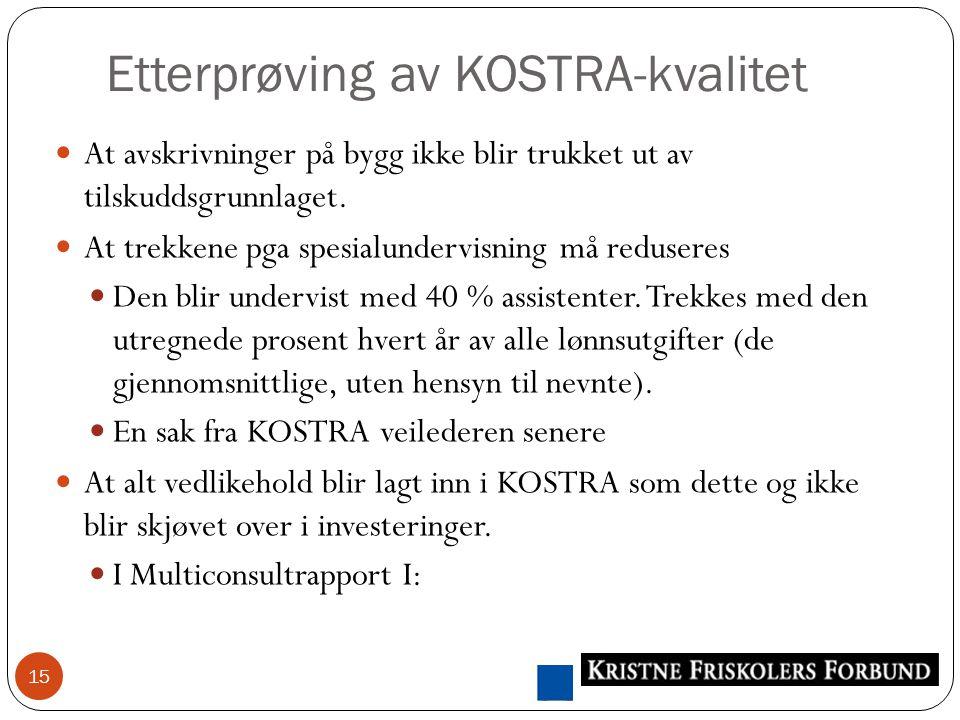 Etterprøving av KOSTRA-kvalitet 15 At avskrivninger på bygg ikke blir trukket ut av tilskuddsgrunnlaget.