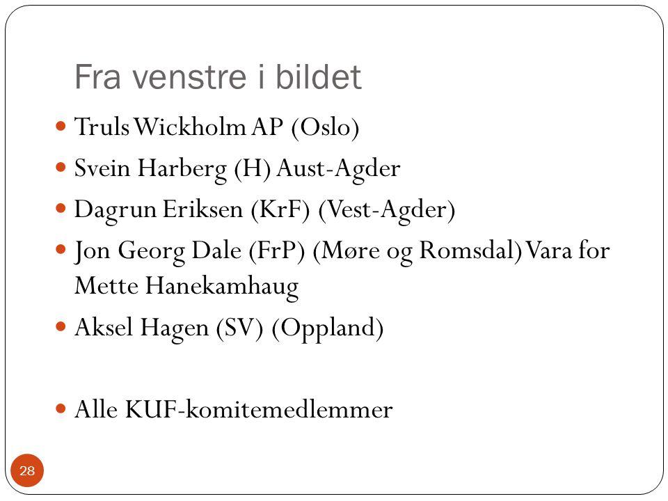 Fra venstre i bildet 28 Truls Wickholm AP (Oslo) Svein Harberg (H) Aust-Agder Dagrun Eriksen (KrF) (Vest-Agder) Jon Georg Dale (FrP) (Møre og Romsdal) Vara for Mette Hanekamhaug Aksel Hagen (SV) (Oppland) Alle KUF-komitemedlemmer