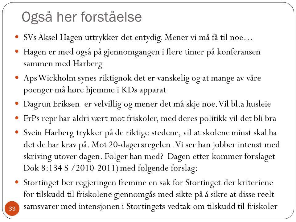 Også her forståelse 33 SVs Aksel Hagen uttrykker det entydig.