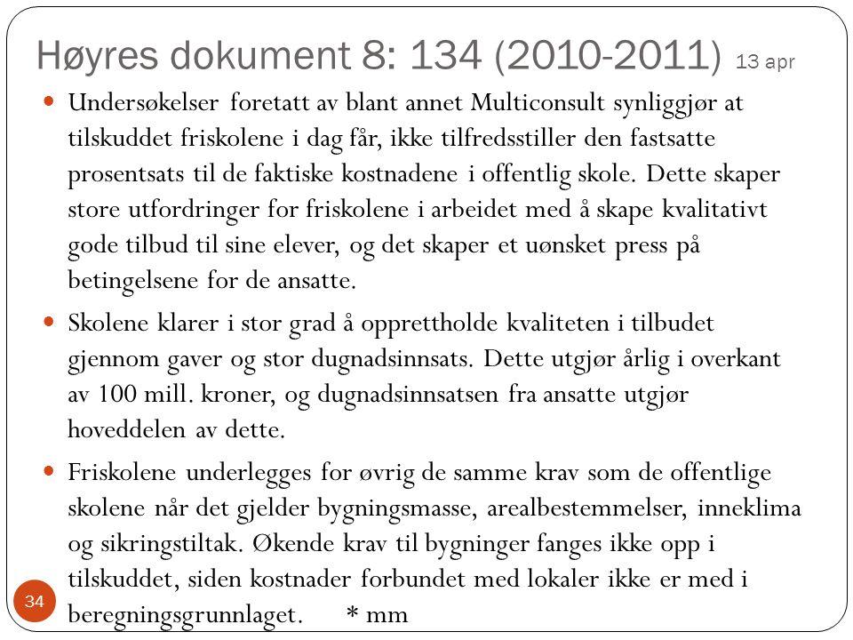 Høyres dokument 8: 134 (2010-2011) 13 apr 34 Undersøkelser foretatt av blant annet Multiconsult synliggjør at tilskuddet friskolene i dag får, ikke tilfredsstiller den fastsatte prosentsats til de faktiske kostnadene i offentlig skole.