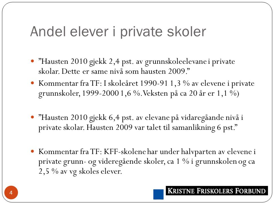 Andel elever i private skoler 4 Hausten 2010 gjekk 2,4 pst.