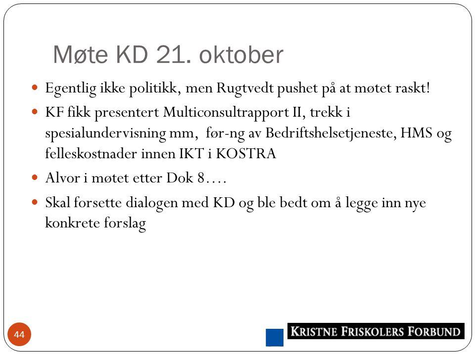 Møte KD 21. oktober 44 Egentlig ikke politikk, men Rugtvedt pushet på at møtet raskt.