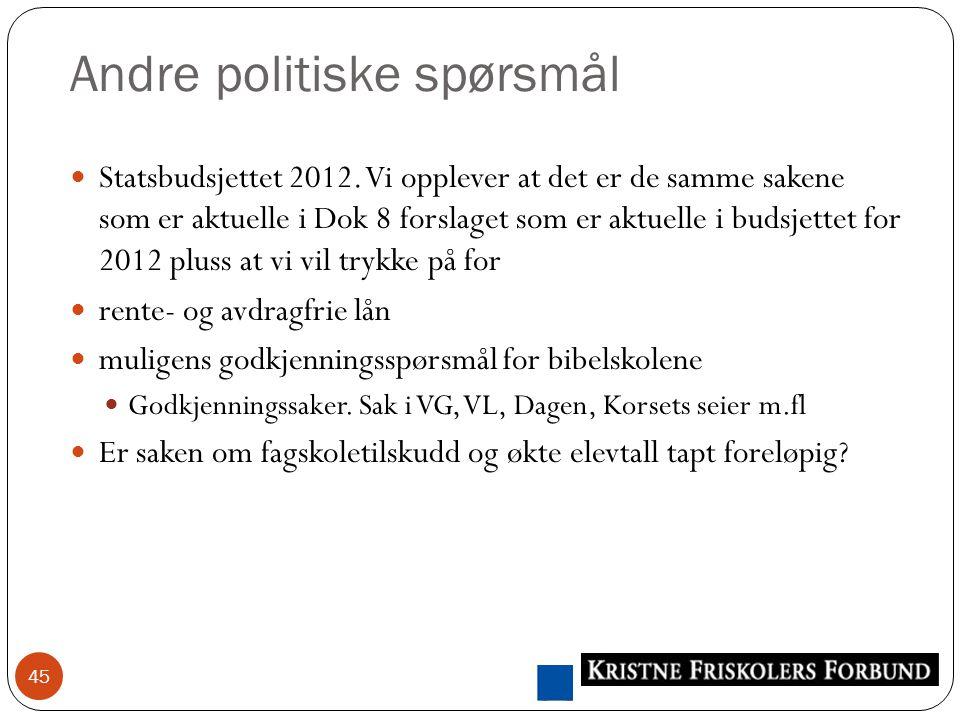 Andre politiske spørsmål 45 Statsbudsjettet 2012.